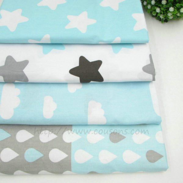 coupon tissu coton - assortiment 4 tissus bleus kalani - etoiles nuages gouttes pluie - 0001