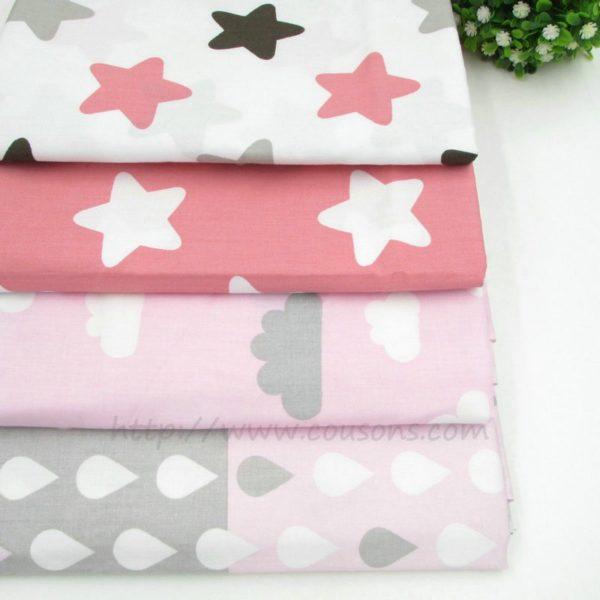 coupon tissu coton - assortiment 4 tissus roses kalani - etoiles nuages gouttes pluie - 0001