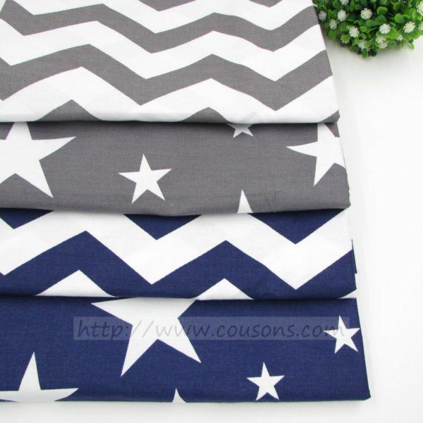 coupon tissu coton - assortiment hoku - etoiles vagues bleu marine gris 0003