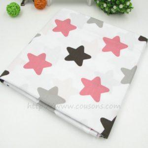 tissu Kalani A01 - Blanc a etoiles roses grises noires - 01