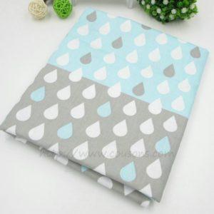 tissu Kalani A07 - Bleu et gris a gouttes bleues grises blanches - 00