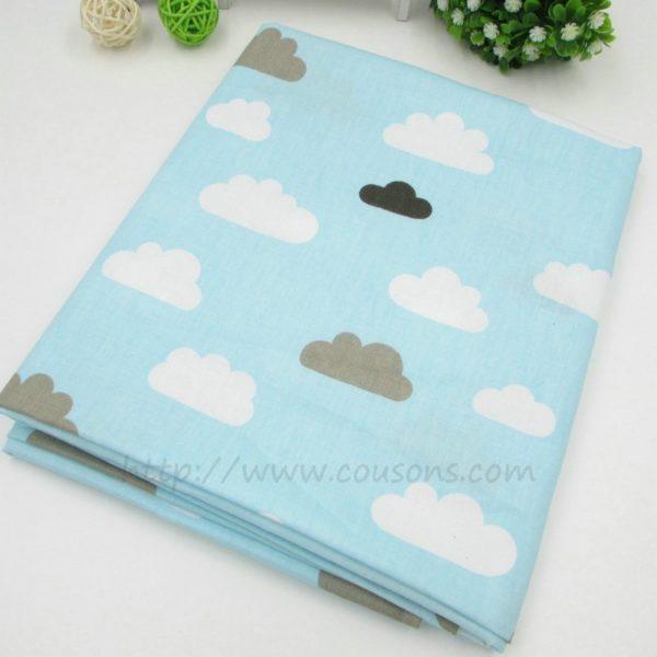 tissu Kalani A08 - Bleu a nuages blancs et gris - 00