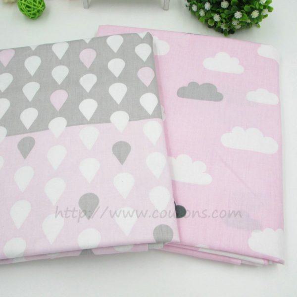 tissu Kalani B02 - Lot 2 tissus - Gouttes et nuages - rose gris blanc - 01