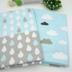 tissu Kalani B03 - Lot 2 tissus - Gouttes et nuages - bleu gris blanc - 01