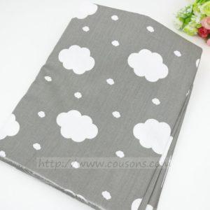 tissu Ohopo A01 - Nuages etoiles chevrons carreaux gris - 01