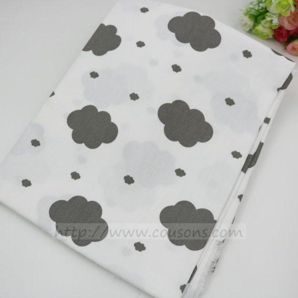 tissu Ohopo A02 - Nuages etoiles chevrons carreaux gris - 01