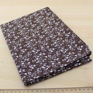 01 - collection Typha - tissu brun fonce a motifs floraux blancs