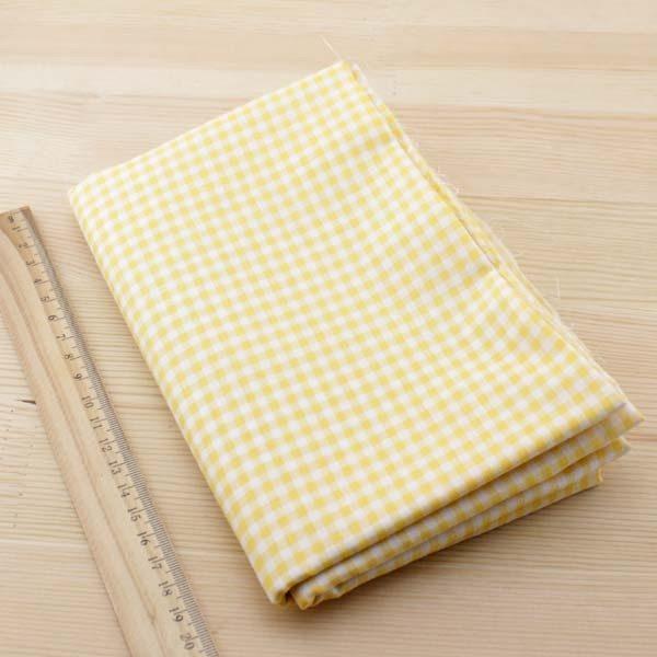 01 - tissu jaune orange - collection Arnica - carreaux jaune-orange
