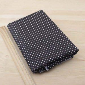 01 - tissu noir - collection Tacca - noir a petits pois blancs