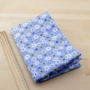 03 - tissu bleu - collection Ceanothe - bleu clair à fleurs blanches et bleues