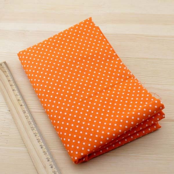 03 - tissu jaune orange - collection Arnica - orange a petits pois blancs
