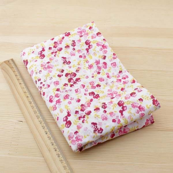 04 - tissu Coquelicot - fleurs rouges et roses de taille moyenne