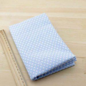 04 - tissu bleu - collection Ceanothe - bleu clair à pois blancs