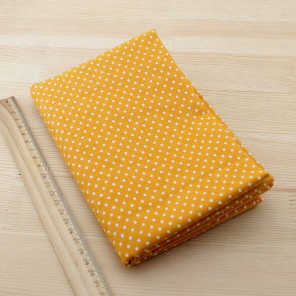 06 - tissu jaune orange - collection Arnica - jaune-orange a petits pois blancs