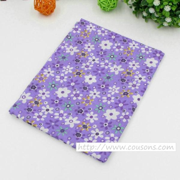 06 - tissu violet - collection Lavande - Violet à fleurs multicolores