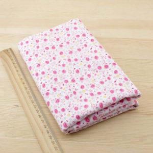07 - tissu Armérie - Blanc à fleurs roses