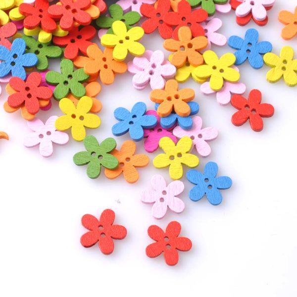 Boutons bois en forme de fleur - petite taille 02