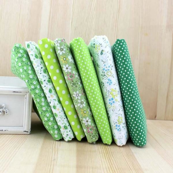 Tissus verts - Collection Alchémille - assortiment coupons tissu coton - 01