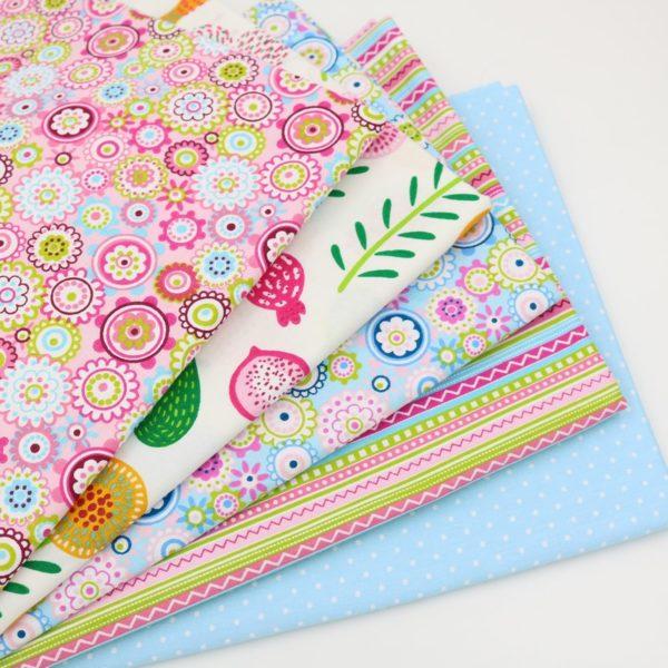 coupon tissu coton - assortiment polsinia 02 bleu rose - 00b