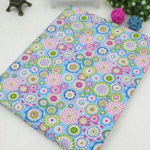 coupon tissu coton - assortiment polsinia bleu rose - 03