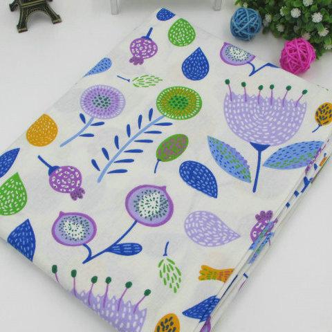 coupon tissu coton - assortiment polsinia bleu rose - 04