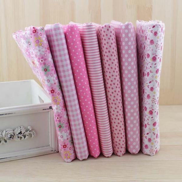 coupon tissu coton -assortiment rose - collection Armérie - 01