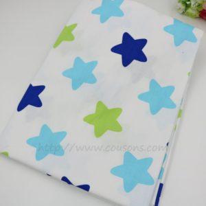 coupon tissu coton - assortiment uliuli - etoiles chevrons bleu vert - 0101