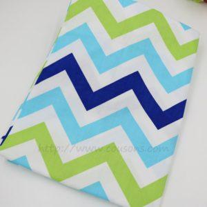 coupon tissu coton - assortiment uliuli - etoiles chevrons bleu vert - 0201