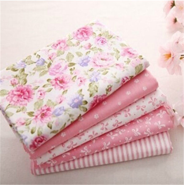 coupon tissu coton sergé - assortiment rose - lot de 5