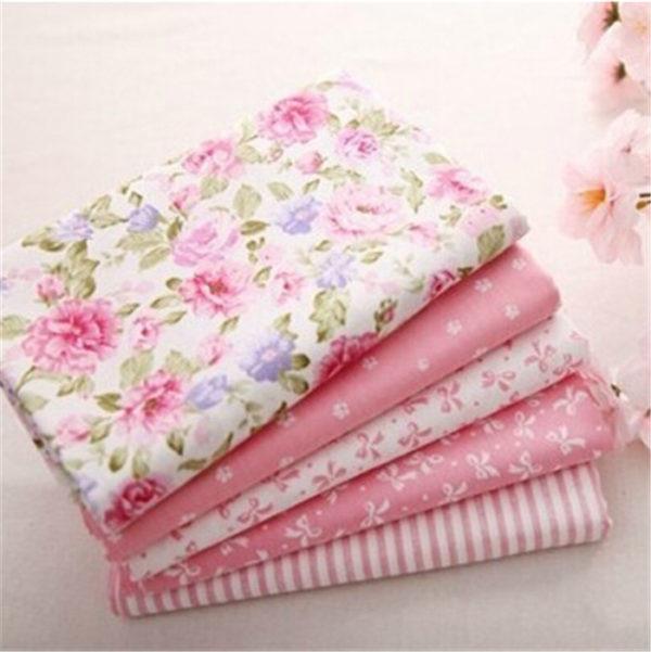 coupon tissu coton sergé - assortiment rose - lot de 5