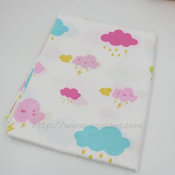tissu Eguraldi - nuages pluie soleil rose bleu gris - 0101