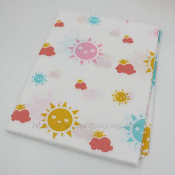 tissu Eguraldi - nuages pluie soleil rose bleu gris - 0201