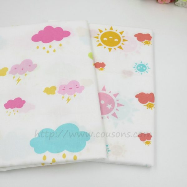 tissu Giro - nuages pluie soleil rose bleu gris - 0011
