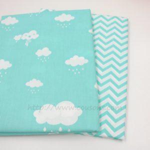 tissu Giro - nuages pluie soleil rose bleu gris - 0021