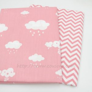 tissu Giro - nuages pluie soleil rose bleu gris - 0031