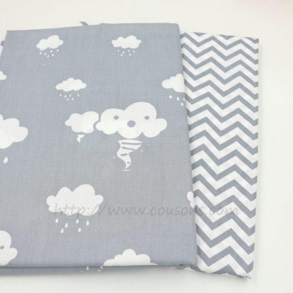 tissu Giro - nuages pluie soleil rose bleu gris - 0041