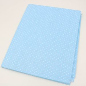 tissu bleu clair à pois blancs - collection Polsinia - 01